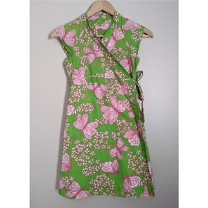 Lilly Pulitzer Green and Pink Butterfly Wrap Dress